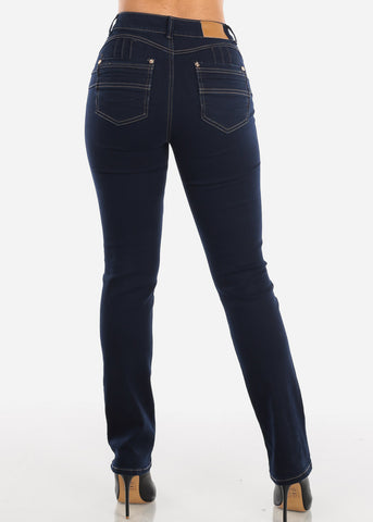 Butt Lifting Dark Navy Wash Bootcut Jeans