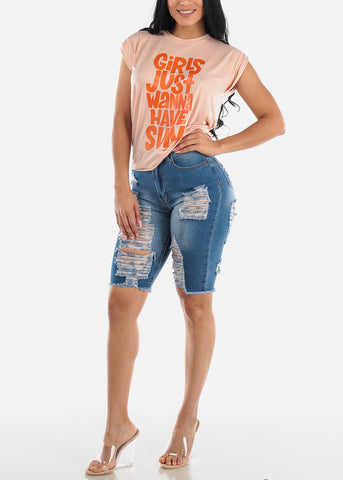 Double Sided Rippled Med Wash Bermuda Shorts