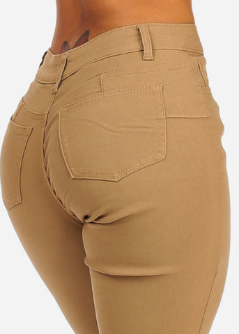 Image of Khaki Butt Lifting Skinny Jeans