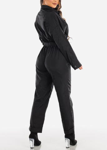 Image of Windbreaker Black Jumpsuit