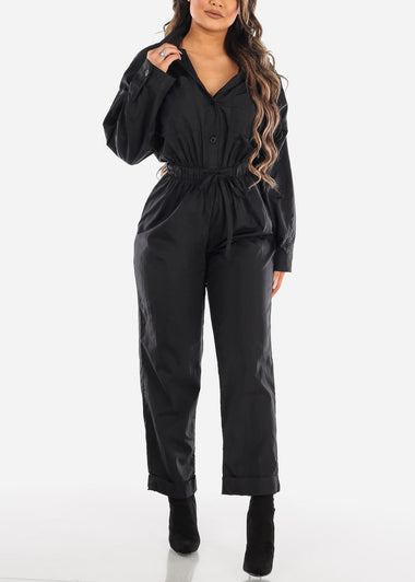 Windbreaker Black Jumpsuit