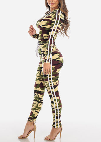 Image of Brown Camouflage Top & Pants (2 PCE SET)