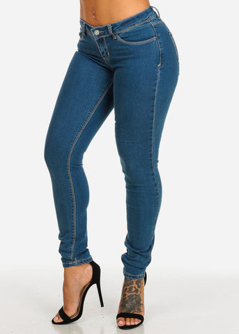 Image of Low Rise Med Wash Skinny Denim Jeans