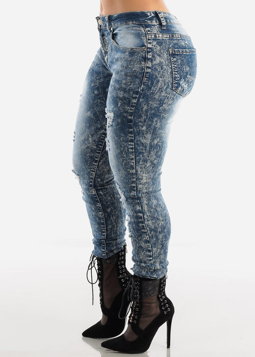 Acid Wash Distressed Skinny Jeans