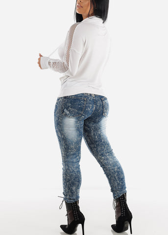Image of Acid Wash Distressed Skinny Jeans