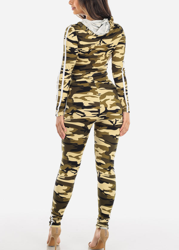 Olive Camouflage Crop Top & Pants (2 PCE SET)