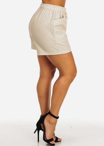 Image of Ultra High Waist Sand Linen Shorts