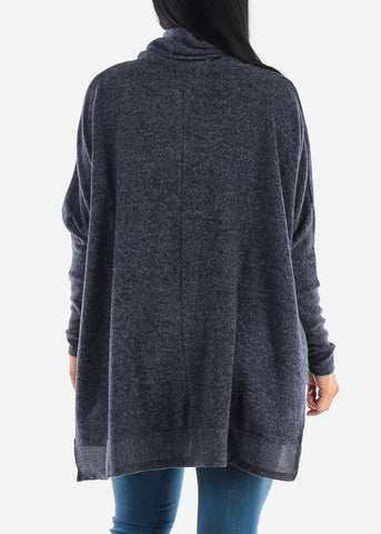 Image of Cowl Neckline Navy Poncho Sweater