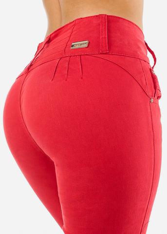 Image of Red Butt Lifting Skinny Jeans