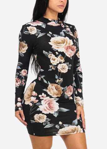 Image of Black Floral Mini Dress