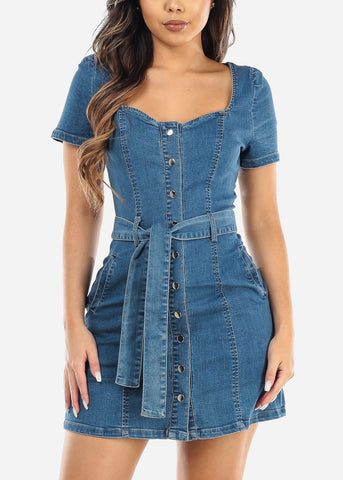 Image of Snap Button Up Denim Mini Dress