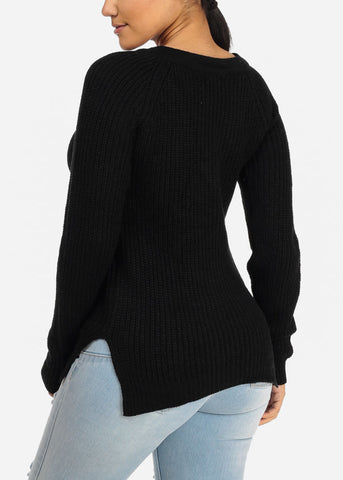Stylish Long Sleeve V Lace Up Neckline Side Slits Knitted Black Sweater Top