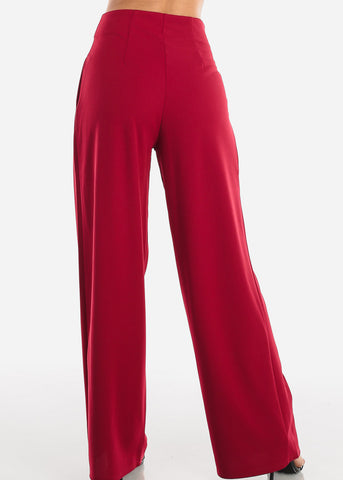 Image of High Rise Burgundy Palazzo Trousers