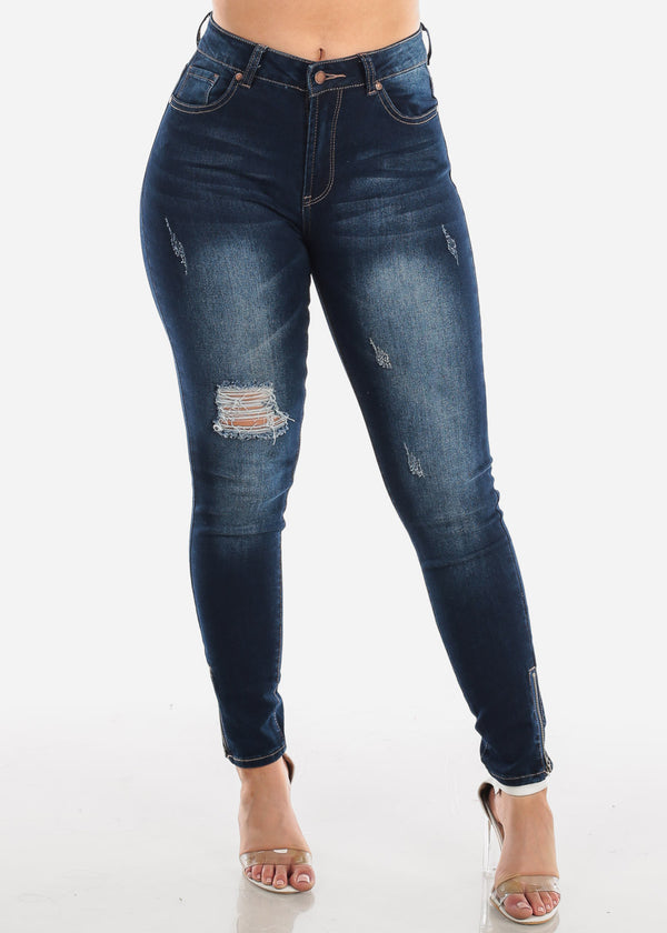 High Rise Ripped Dark Wash Skinny Jeans
