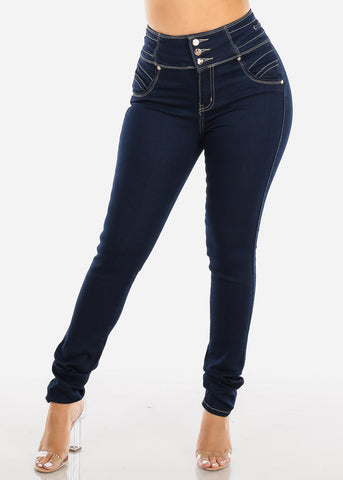 Butt Lifting High Rise Dark Wash Skinny Jeans