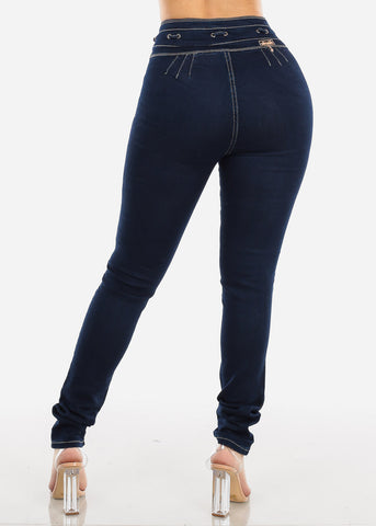 Image of Butt Lifting High Rise Dark Wash Skinny Jeans