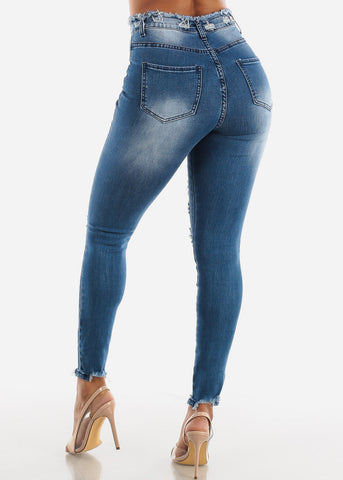 Image of Torn Med Wash Skinny Jeans