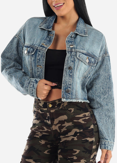 Faded Wash Raw Hem Crop Denim Jacket