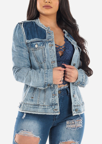 Cotton Light Wash Button Up Denim Jacket