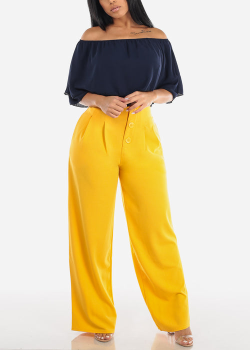High Rise Wide Leg Yellow Pants