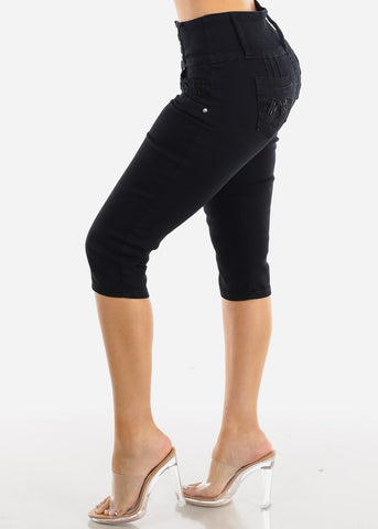 Butt Lifting Black Denim Bermuda Shorts