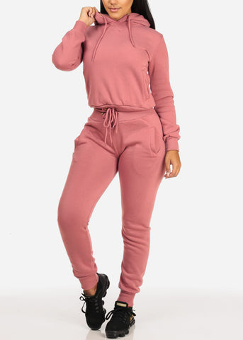 High Waisted Mauve Jogger Pants