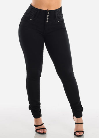 Image of Sexy Levanta Cola Butt Lifting Colombian Design 4 Button Black Mid Rise Skinny Jeans For Women Ladies Junior