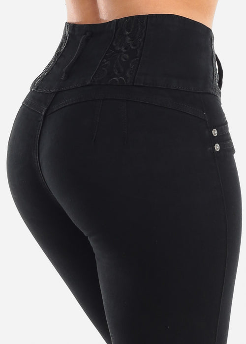 Sexy Levanta Cola Butt Lifting Colombian Design 4 Button Black Mid Rise Skinny Jeans For Women Ladies Junior