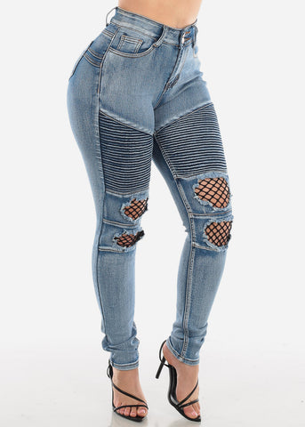 Butt Lifting Light Wash Torn Moto Skinny Jeans