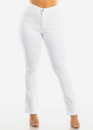 High Rise White Wide Legged Jeans