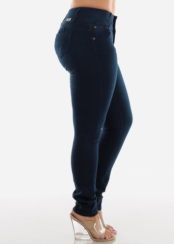 Image of Dark Wash Plus Size Butt Lifting Skinny Jeans