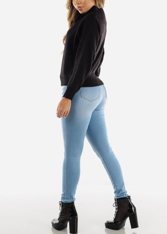 Butt Lifting Button Up Light Wash Skinny Jeans