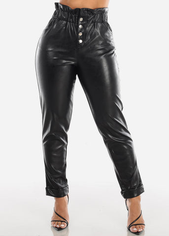 Image of Super High Rise Black Pleather Pants