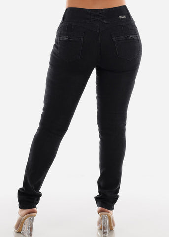 Image of Butt Lifting Black Skinny Jeans SIZES 13-15-17