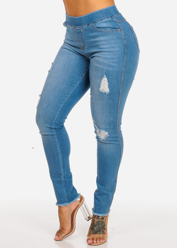 Light Blue High Waist Ripped Skinny Jeans
