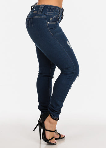 Image of Sexy 3 Button Closure Mid Rise Butt Lifting colombian Design Skinny Jeans