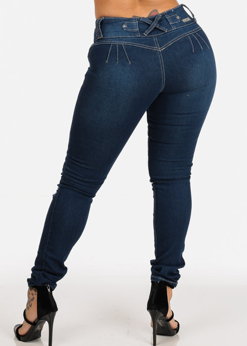 Sexy 3 Button Closure Mid Rise Butt Lifting colombian Design Skinny Jeans