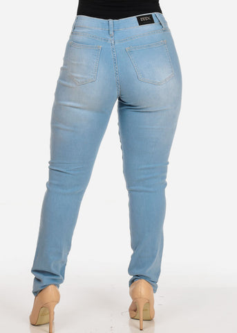 Image of Women's Stylish Curvy Super Stretchy Body Sculpting Plus Size Distressed blue Skinny Jeans