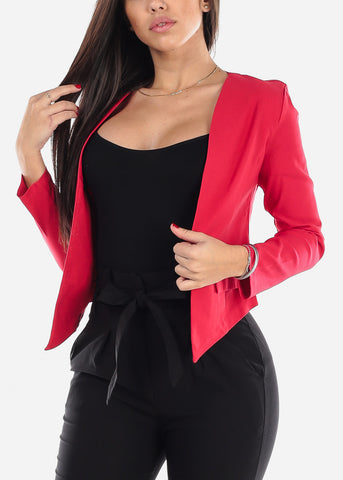 Image of Open Front Red Blazer