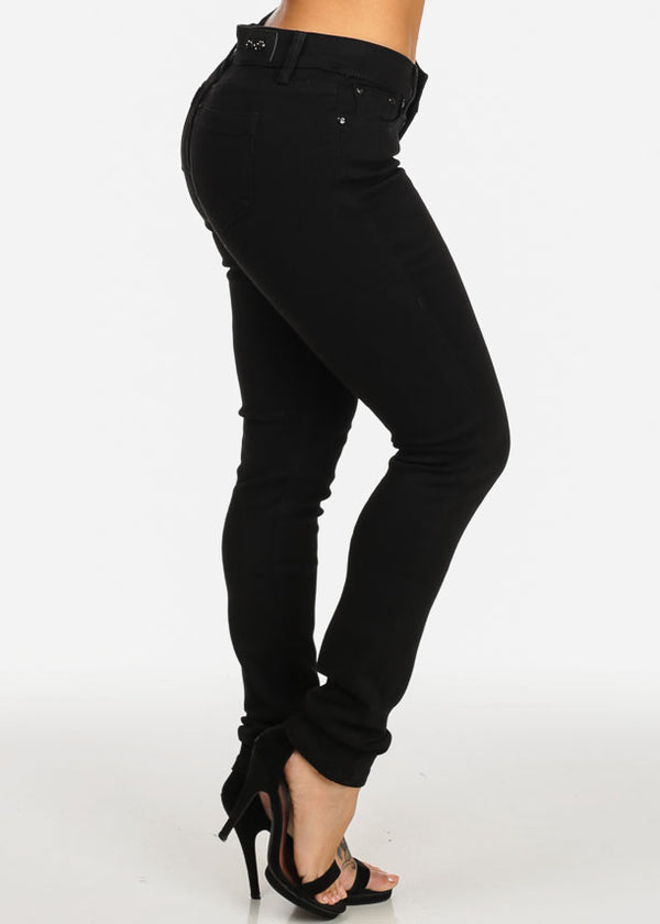 Black Mid Rise Slim Fit Skinny Jeans