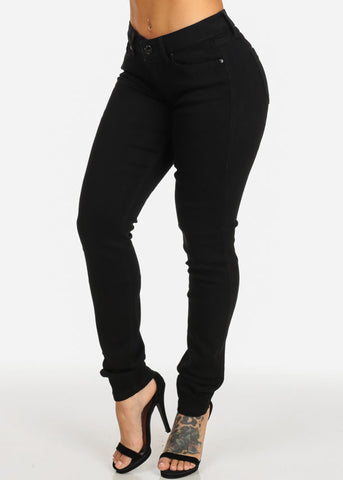 Image of Black Mid Rise Slim Fit Skinny Jeans