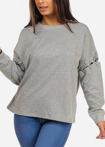 Image of Casual Lace Detail Round Neckline Solid Grey Sweater Top
