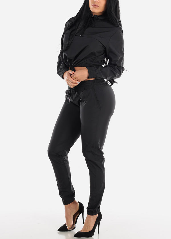 Black Windbreaker Jacket & Pants (2 PCE SET)
