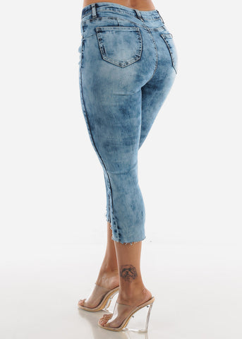 Acid Wash Distressed Denim Capris