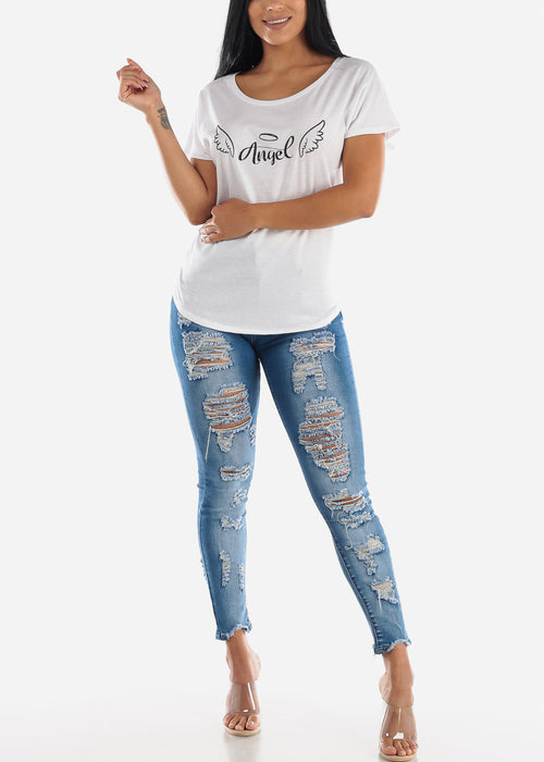 Double Sided Torn Med Wash Skinny Jeans