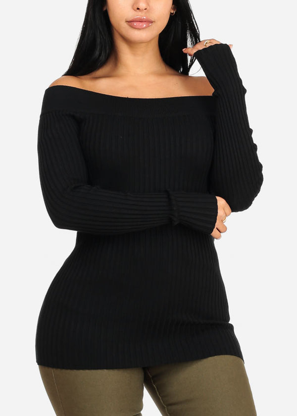 Stylish Ribbed Knitted Black Top