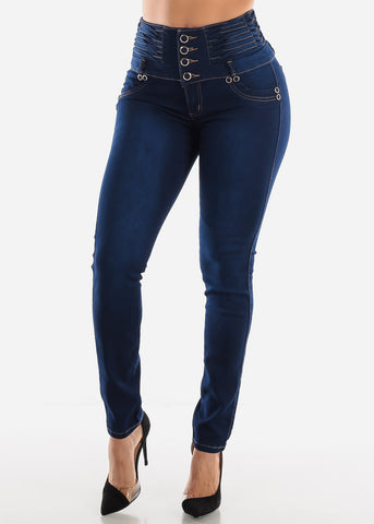 Image of 4 Button High Rise Butt Lift Jeans