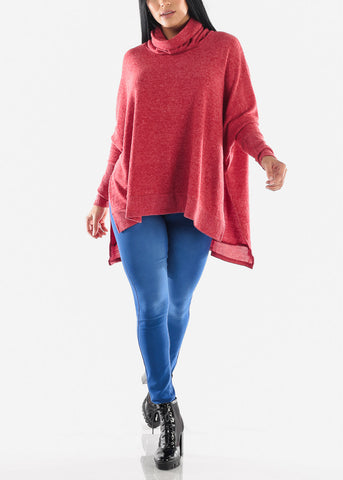 Image of Cowl Neckline Red Poncho Sweater