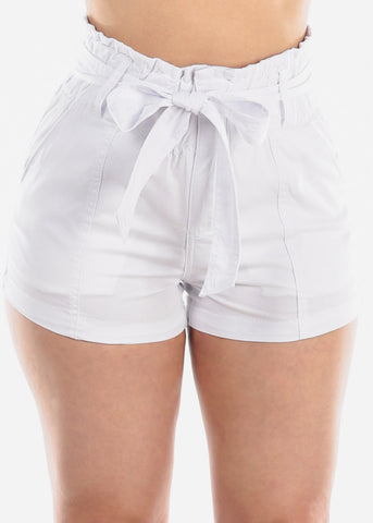 Women's Junior Ladies High Waisted Paperbag White Stretchy Shorts For Summer Vacation Beach 2019 New