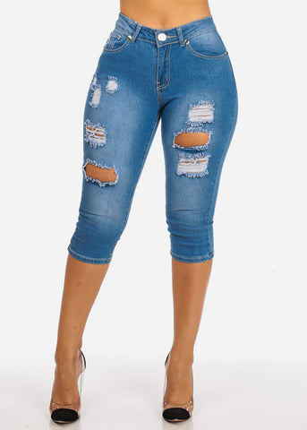High Waisted Ripped Light Blue Capri Jeans